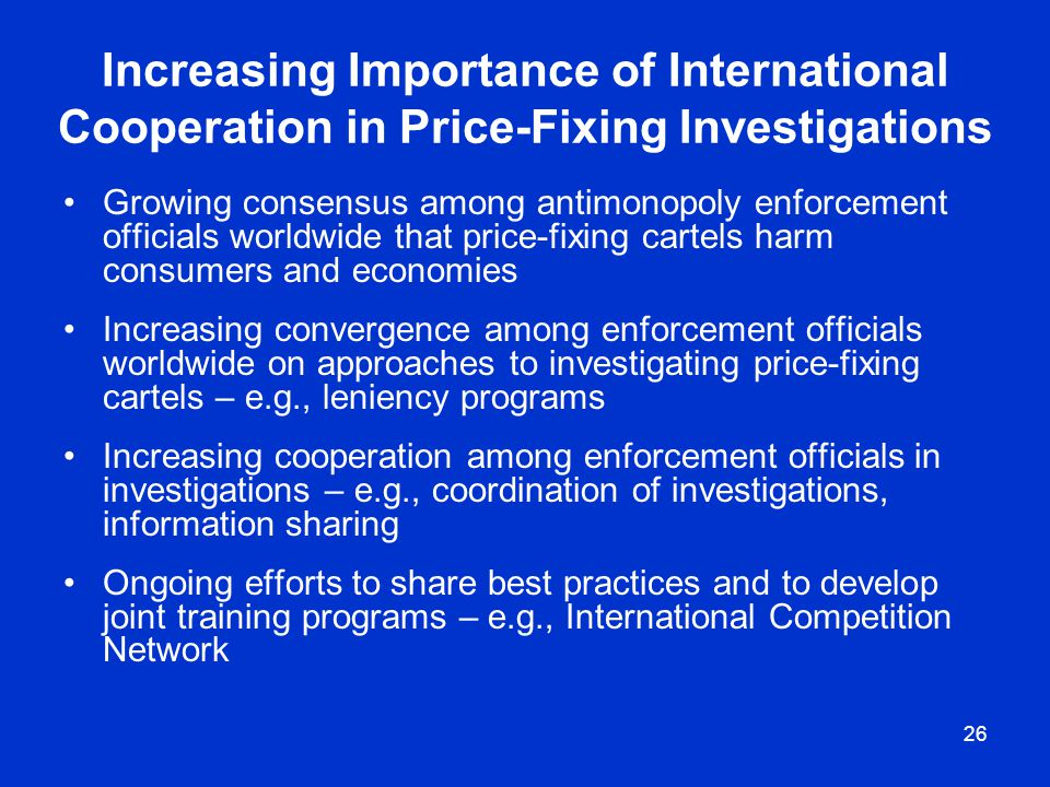Increasing Importance of International Cooperation in Price-Fixing Investigations