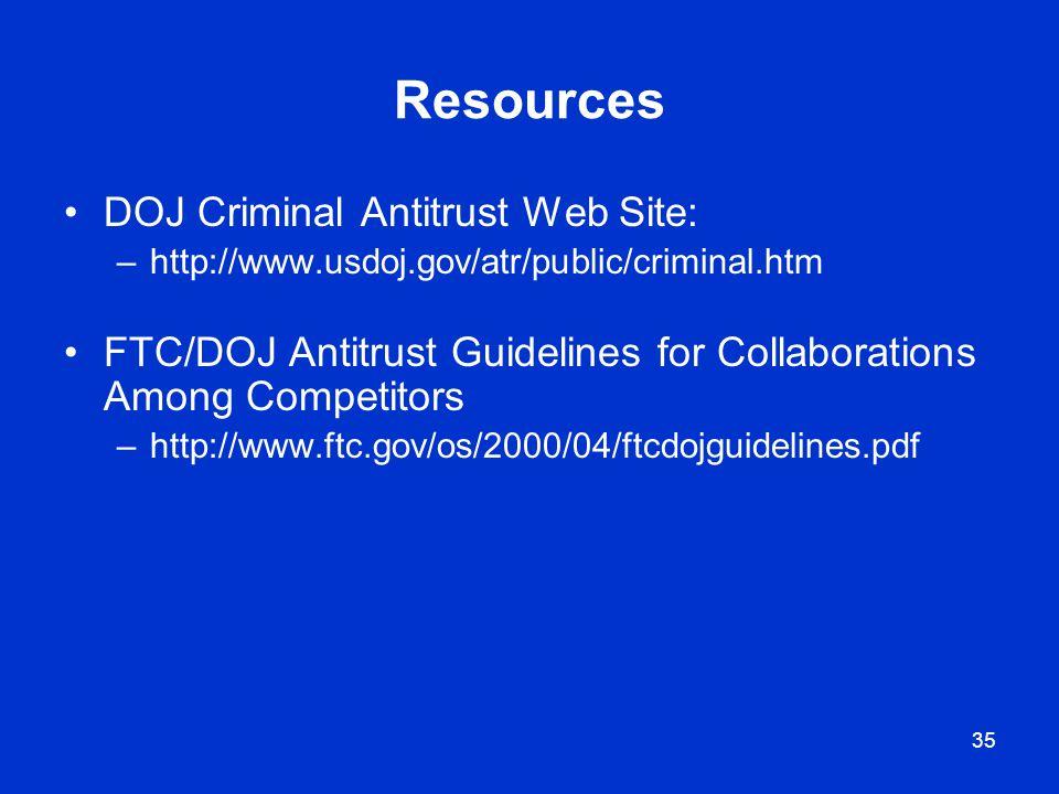 Resources DOJ Criminal Antitrust Web Site: