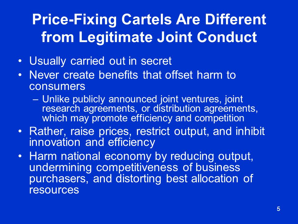 Price-Fixing Cartels Are Different from Legitimate Joint Conduct