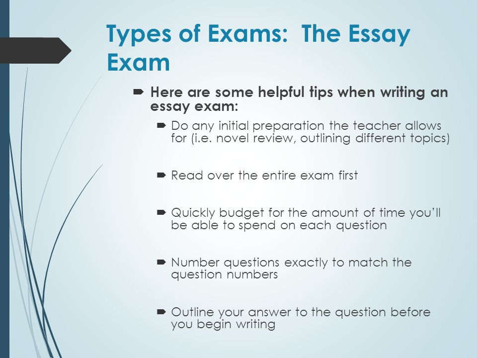 Types of Exams: The Essay Exam
