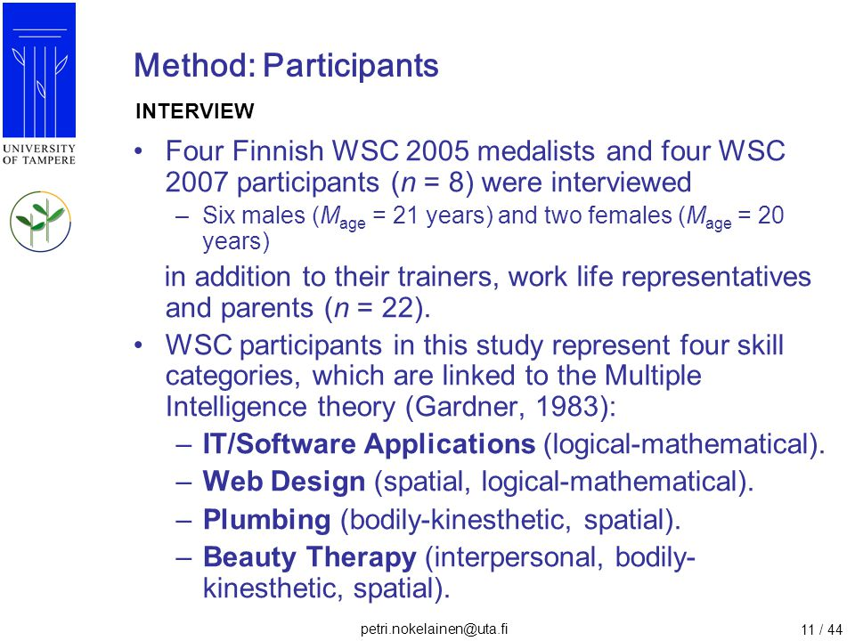 Method: Participants INTERVIEW. Four Finnish WSC 2005 medalists and four WSC 2007 participants (n = 8) were interviewed.