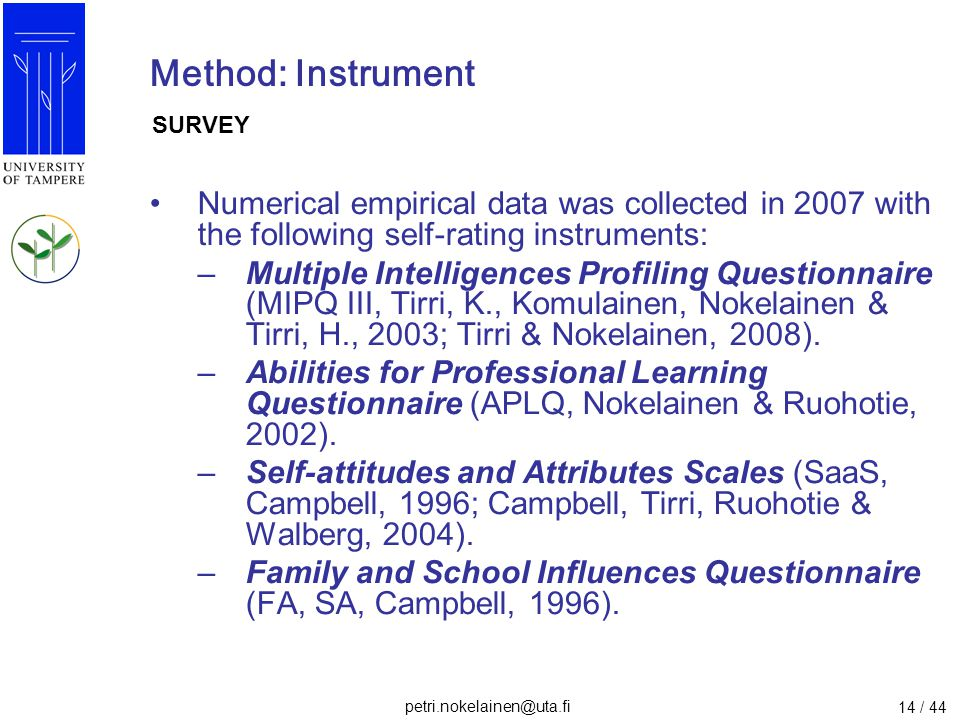 Method: Instrument SURVEY. Numerical empirical data was collected in 2007 with the following self-rating instruments: