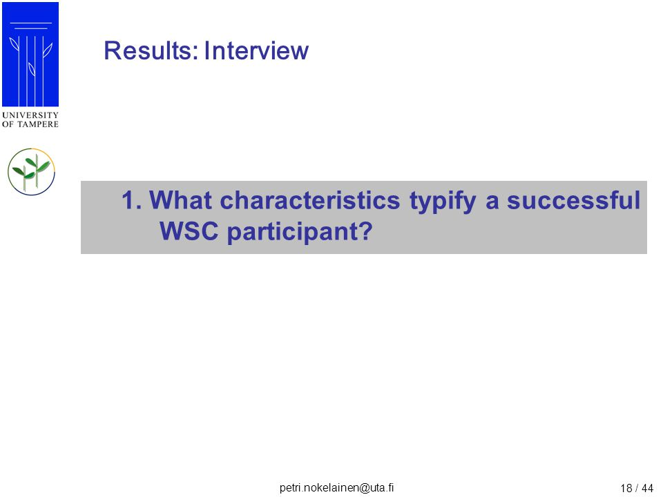 Results: Interview 1. What characteristics typify a successful WSC participant