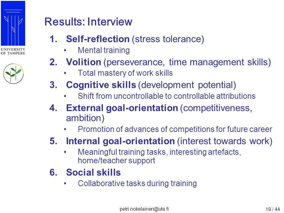 Results: Interview Self-reflection (stress tolerance)