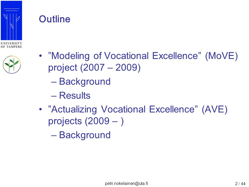 Outline Modeling of Vocational Excellence (MoVE) project (2007 – 2009) Background. Results.