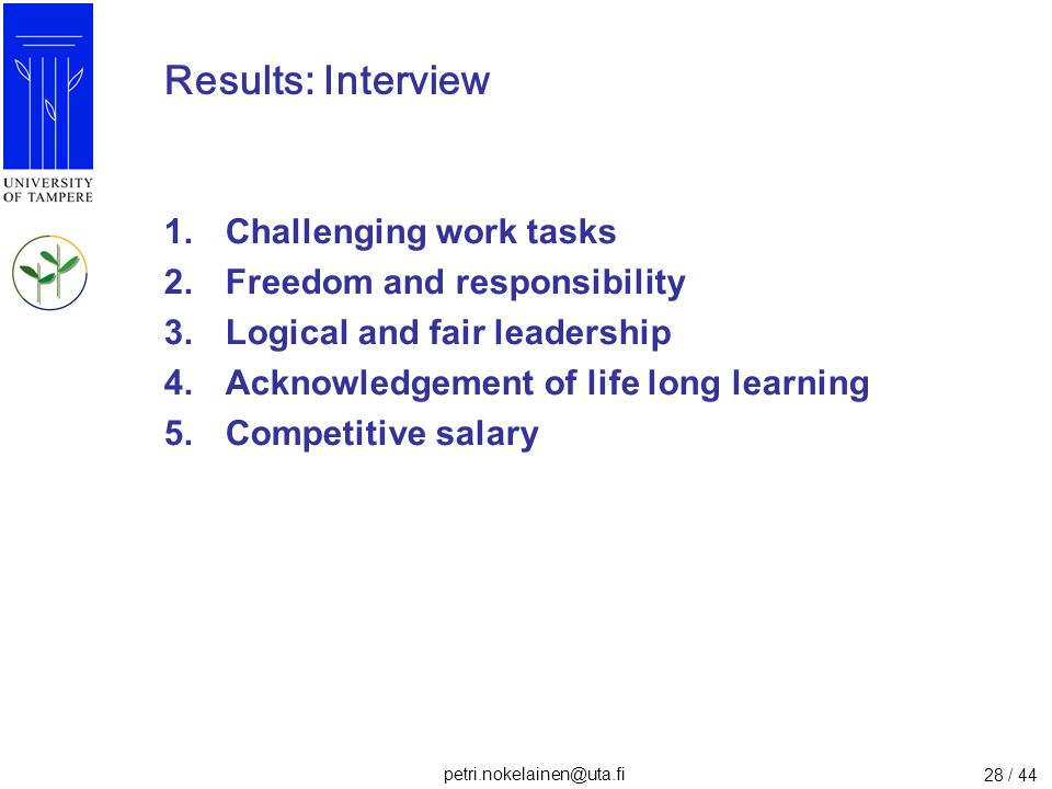 Results: Interview Challenging work tasks Freedom and responsibility