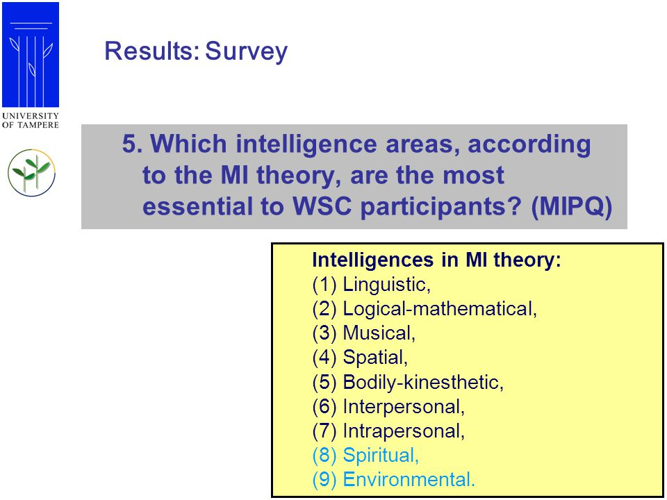 Results: Survey 5. Which intelligence areas, according to the MI theory, are the most essential to WSC participants (MIPQ)