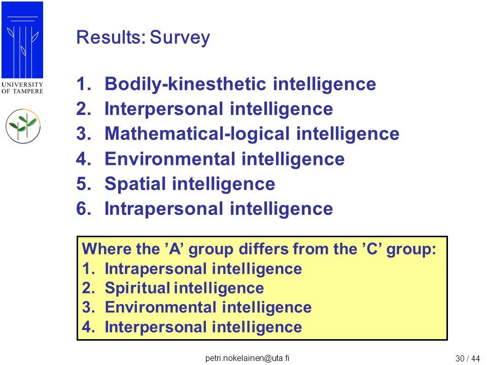 Bodily-kinesthetic intelligence Interpersonal intelligence