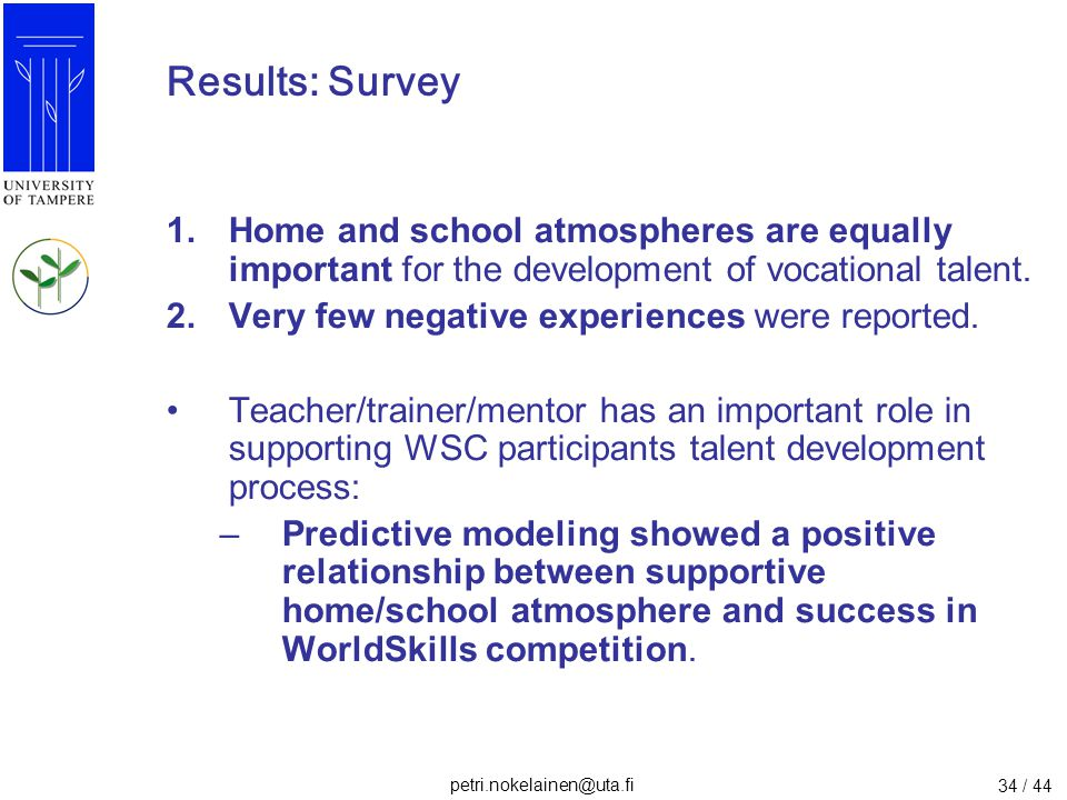 Results: Survey Home and school atmospheres are equally important for the development of vocational talent.