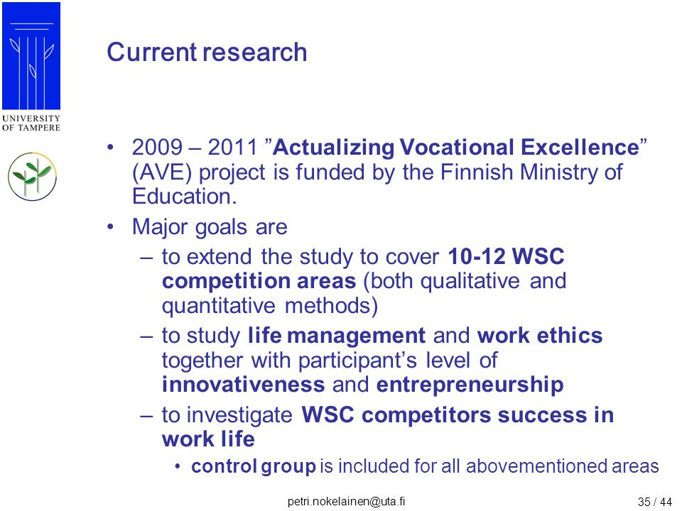 Current research 2009 – 2011 Actualizing Vocational Excellence (AVE) project is funded by the Finnish Ministry of Education.