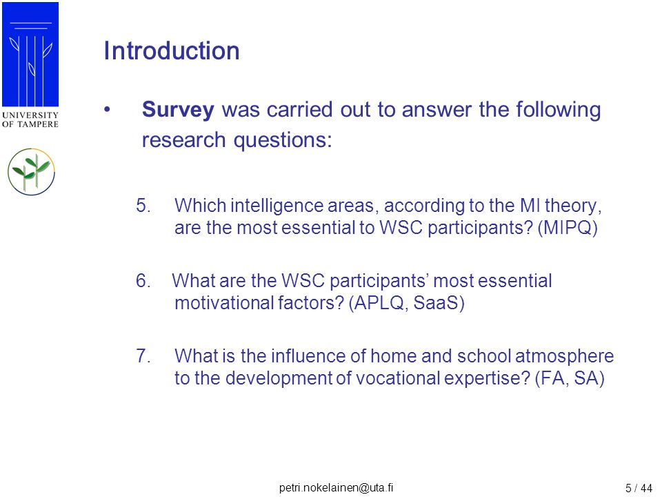 Introduction Survey was carried out to answer the following research questions: