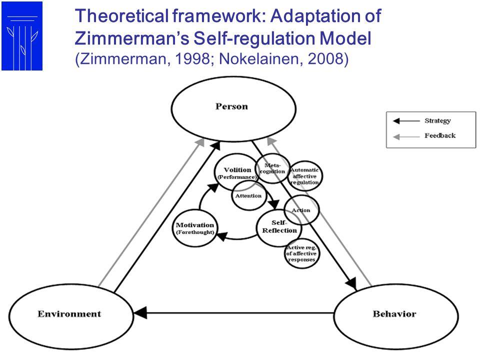 Theoretical framework: Adaptation of Zimmerman's Self-regulation Model (Zimmerman, 1998; Nokelainen, 2008)