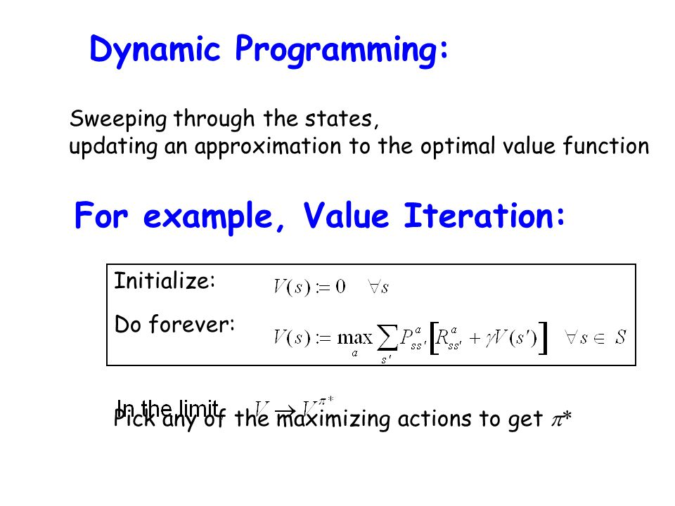 For example, Value Iteration: