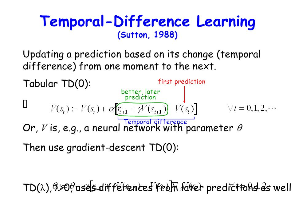 Temporal-Difference Learning (Sutton, 1988)