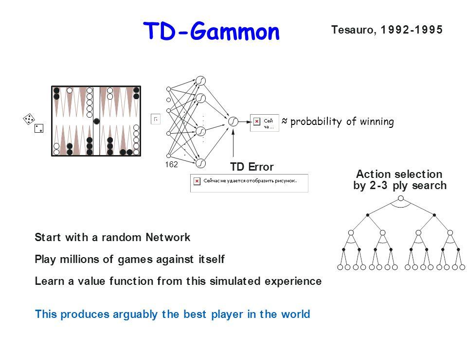 TD-Gammon T e s a u r o , 1 9 9 2 - 1 9 9 5 T D E r r o r A c t i o n