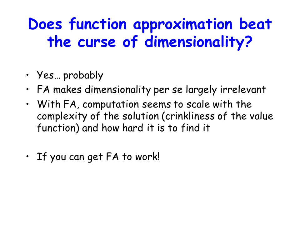 Does function approximation beat the curse of dimensionality