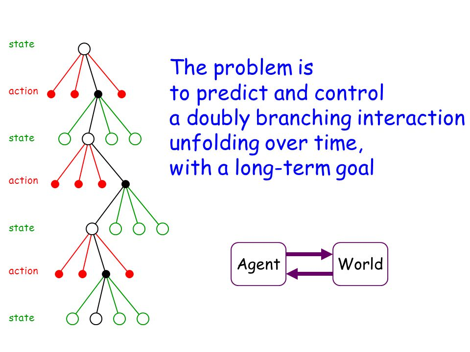 state The problem is to predict and control a doubly branching interaction unfolding over time, with a long-term goal.