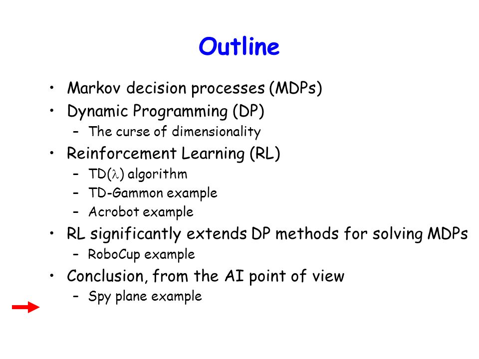 Outline Markov decision processes (MDPs) Dynamic Programming (DP)
