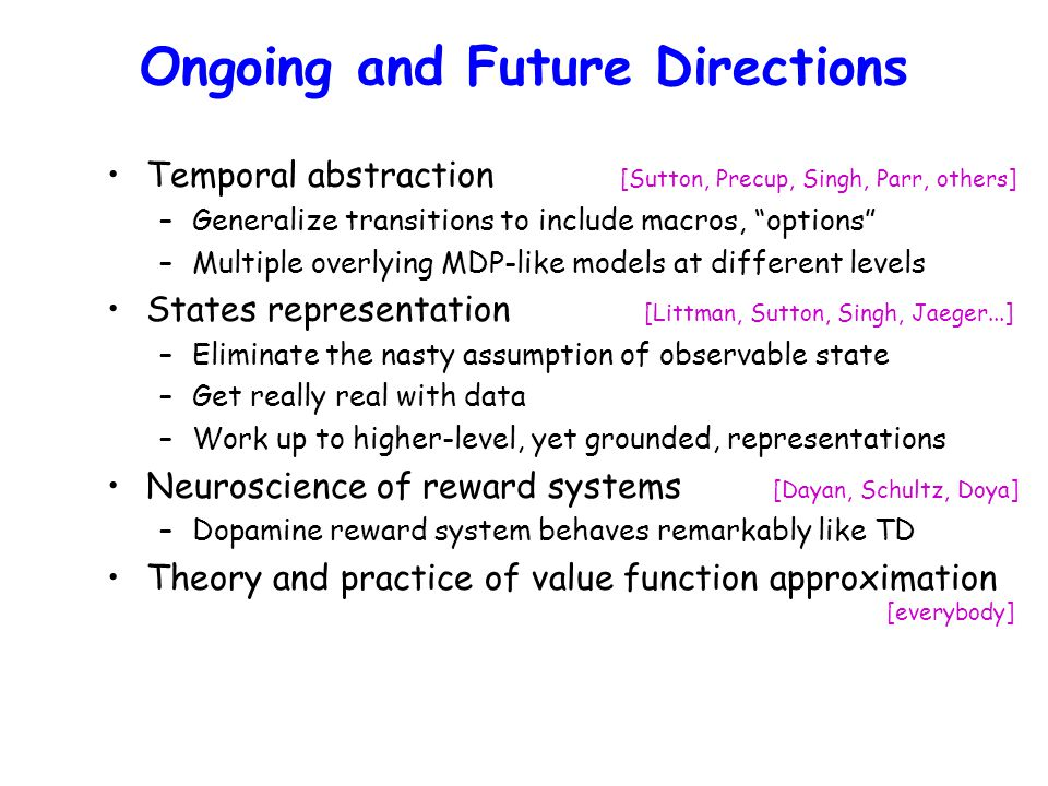 Ongoing and Future Directions