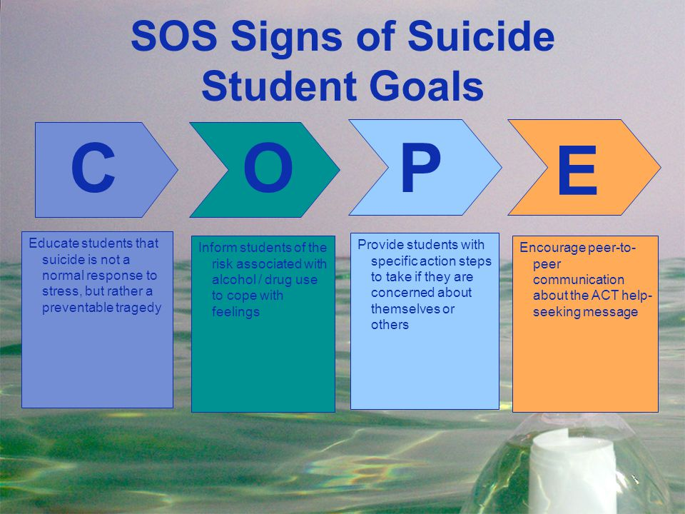 SOS Signs of Suicide Student Goals