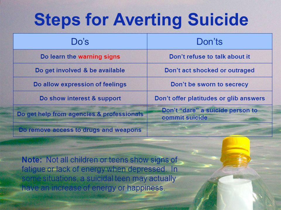 Steps for Averting Suicide