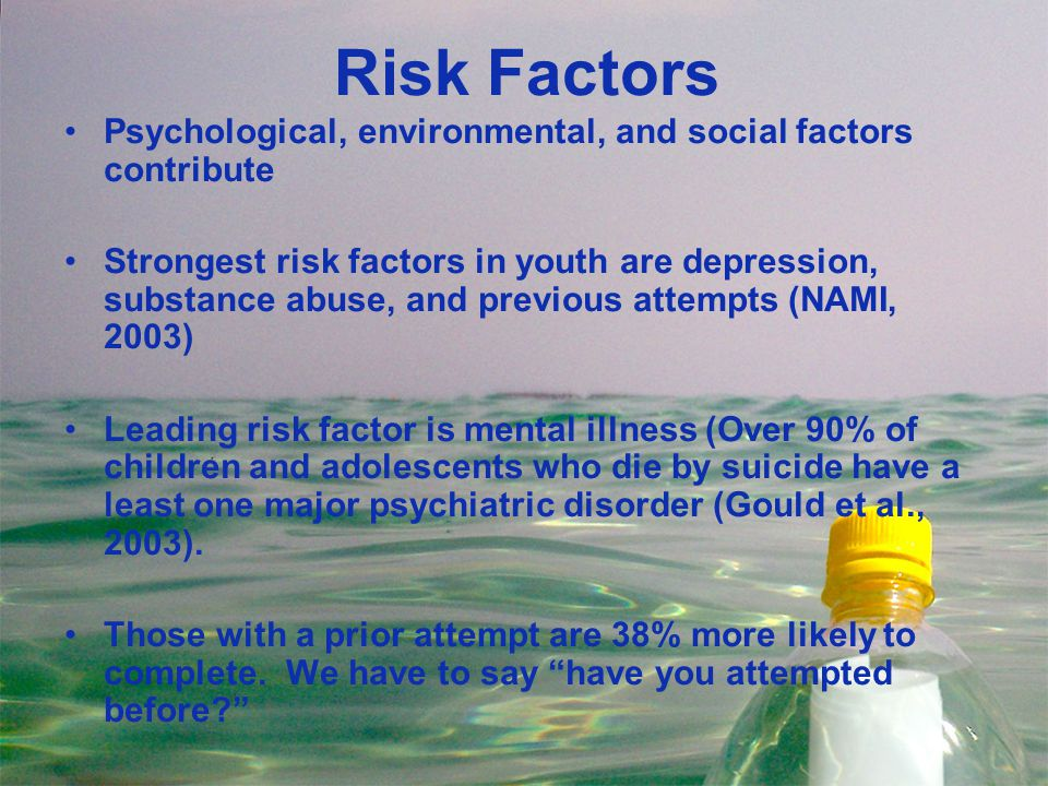 Risk Factors Psychological, environmental, and social factors contribute.