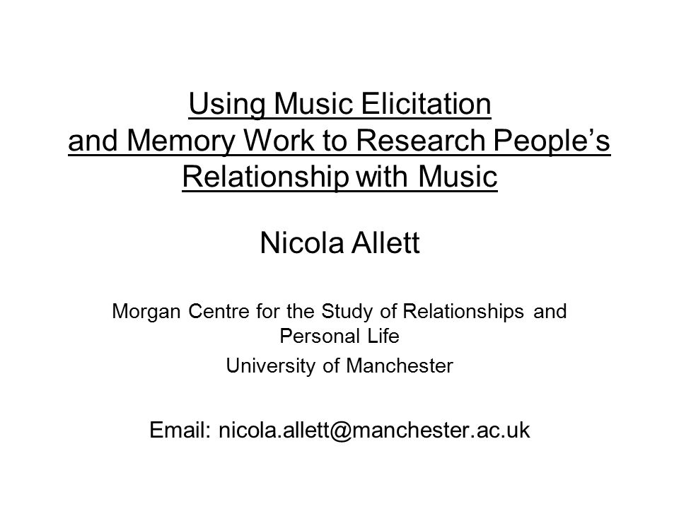 Using Music Elicitation and Memory Work to Research People's Relationship with Music