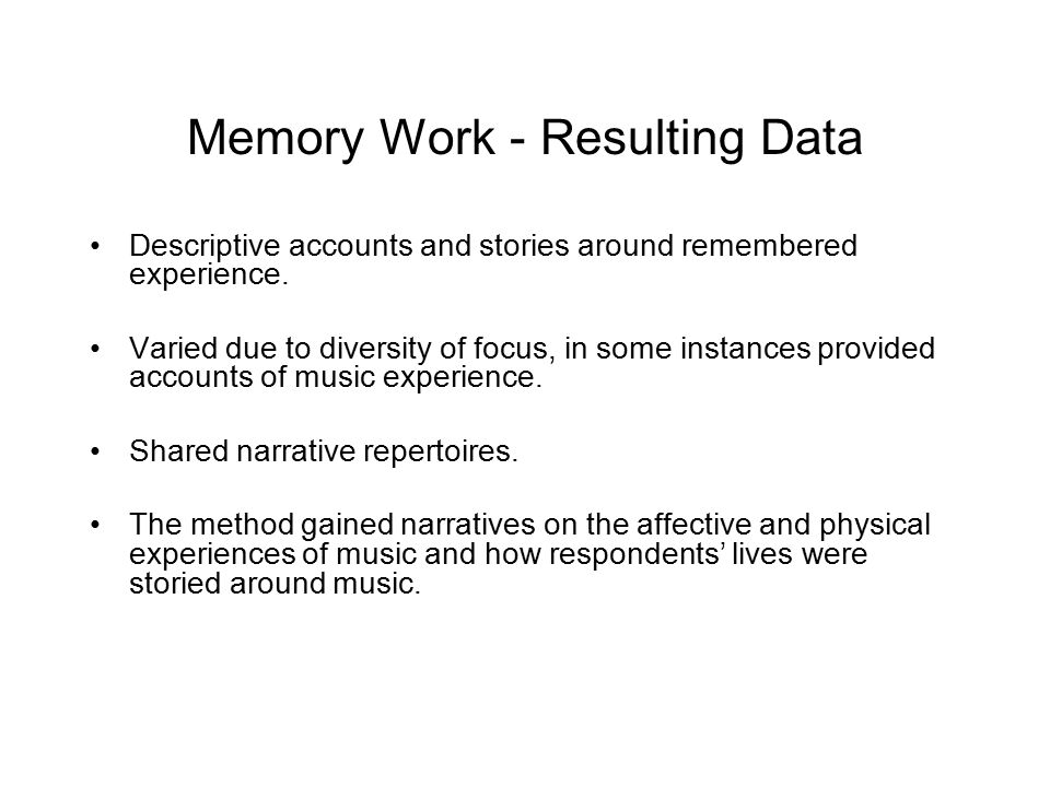 Memory Work - Resulting Data
