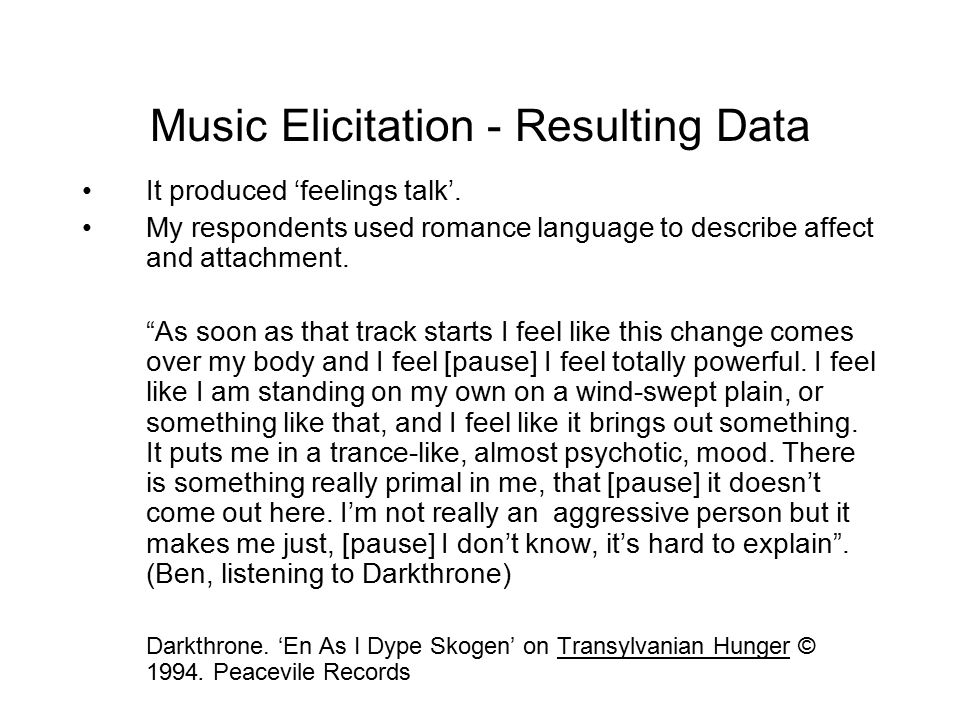 Music Elicitation - Resulting Data