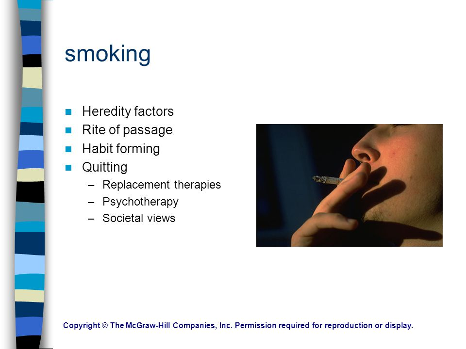 smoking Heredity factors Rite of passage Habit forming Quitting