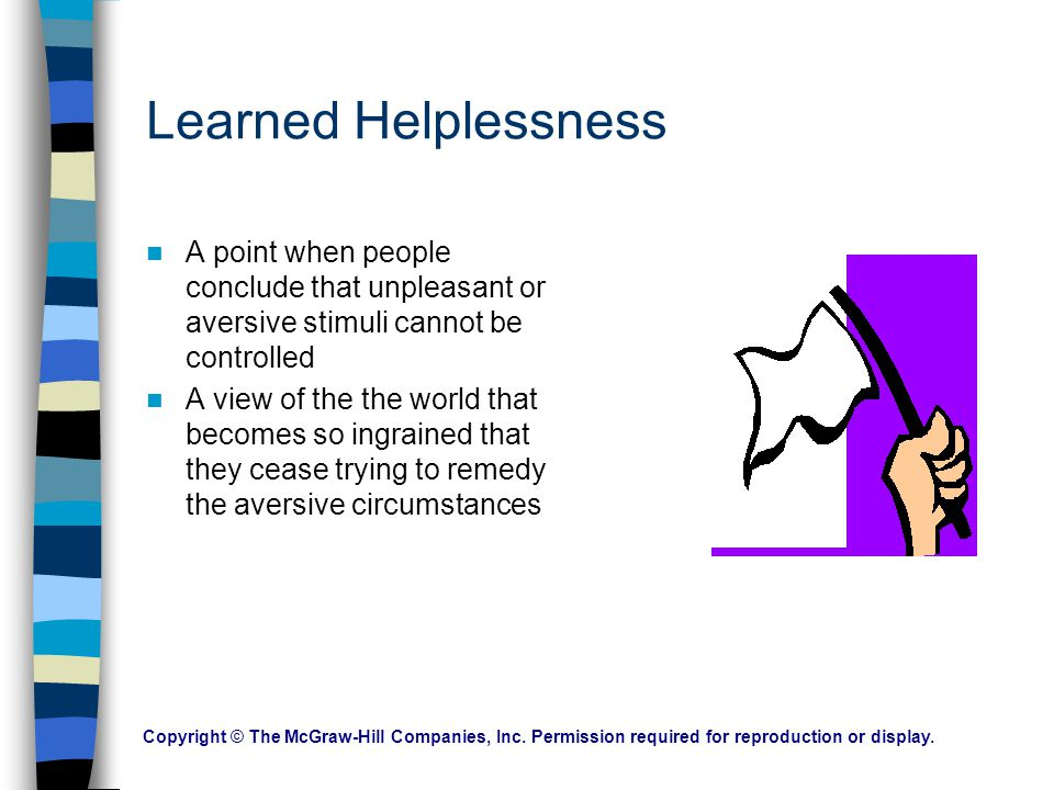 Learned Helplessness A point when people conclude that unpleasant or aversive stimuli cannot be controlled.