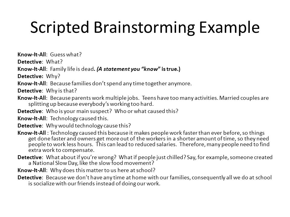 Scripted Brainstorming Example