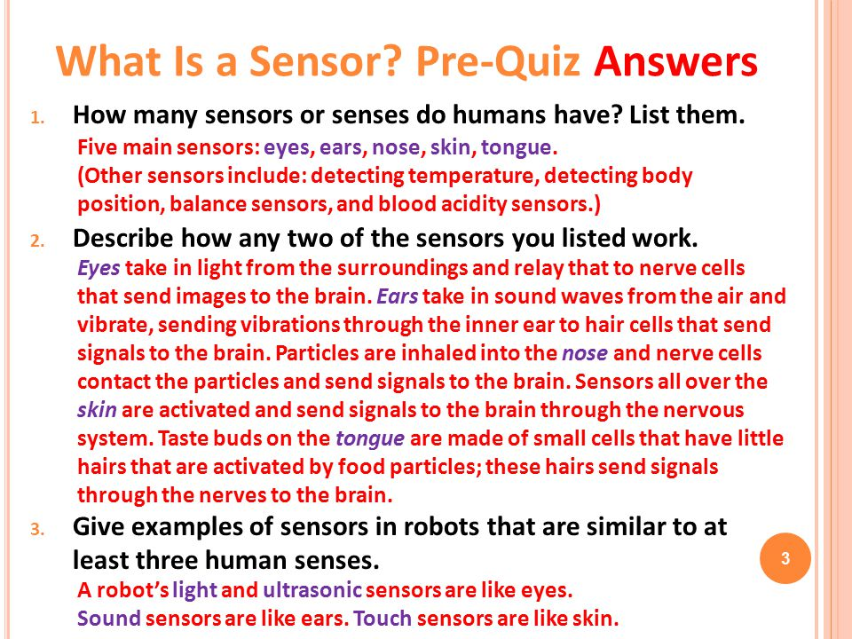 What Is a Sensor Pre-Quiz Answers