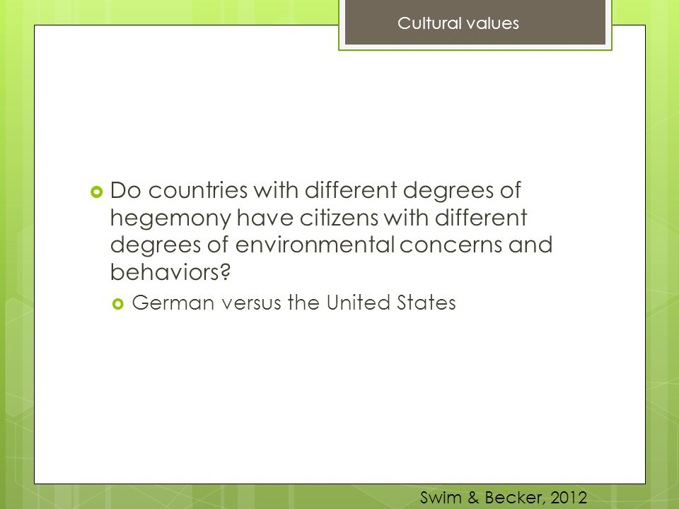 Cultural values Do countries with different degrees of hegemony have citizens with different degrees of environmental concerns and behaviors