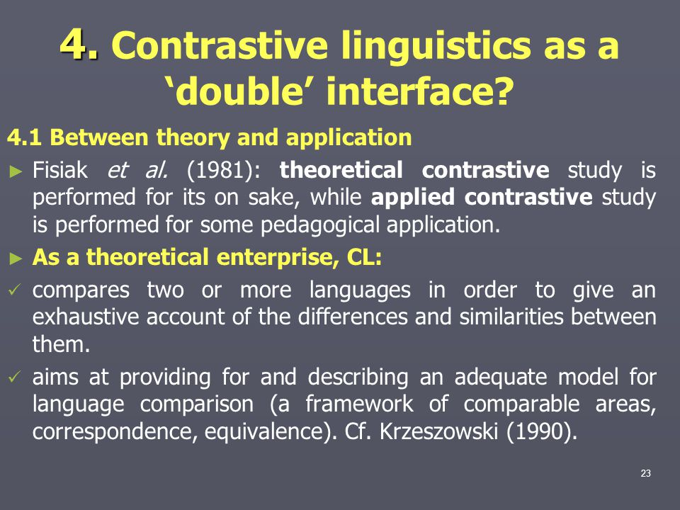 4. Contrastive linguistics as a 'double' interface