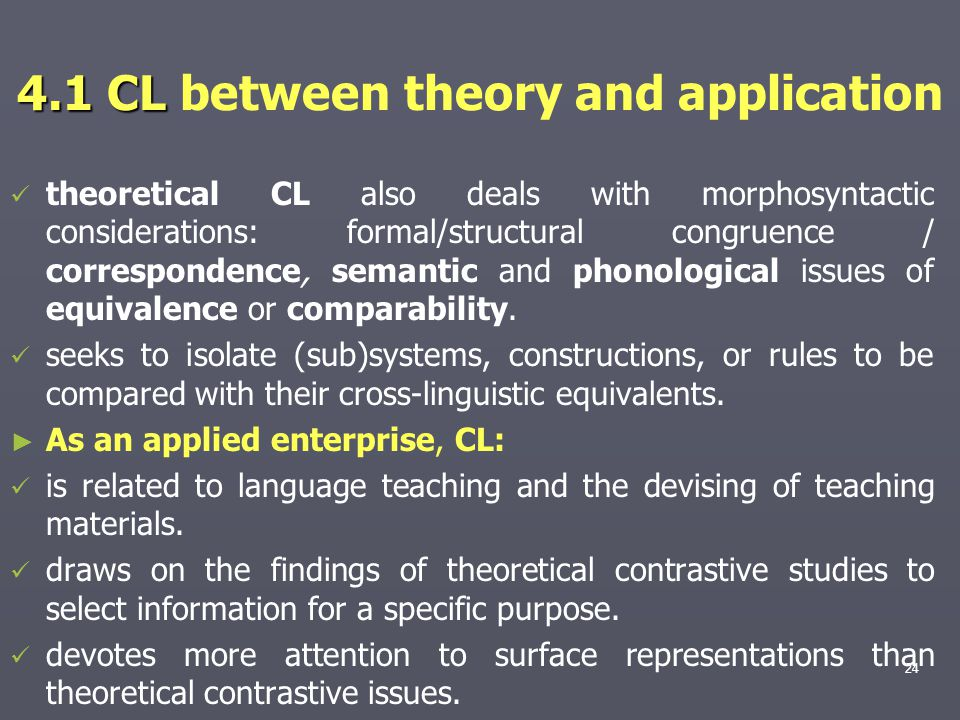4.1 CL between theory and application