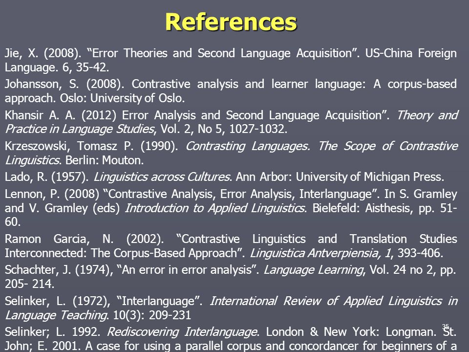 References Jie, X. (2008). Error Theories and Second Language Acquisition . US-China Foreign Language. 6, 35-42.