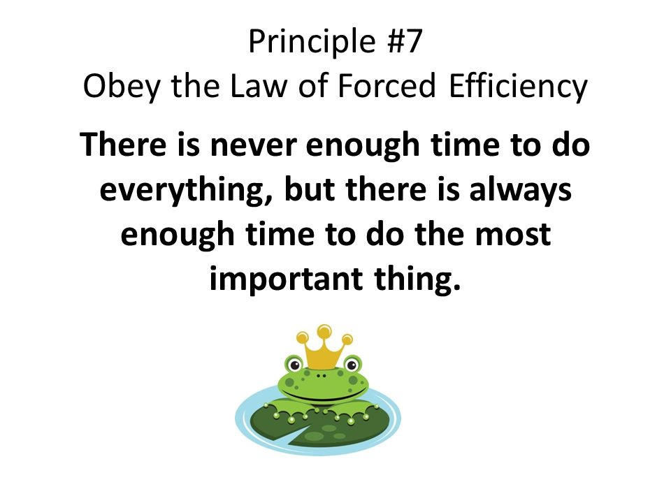 Principle #7 Obey the Law of Forced Efficiency