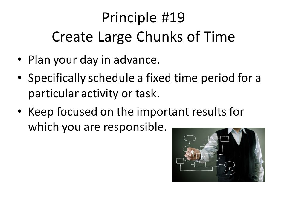 Principle #19 Create Large Chunks of Time