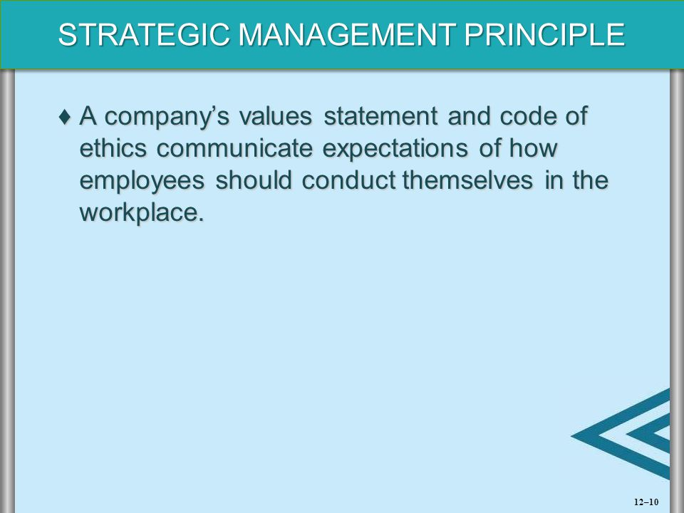 A company's values statement and code of ethics communicate expectations of how employees should conduct themselves in the workplace.