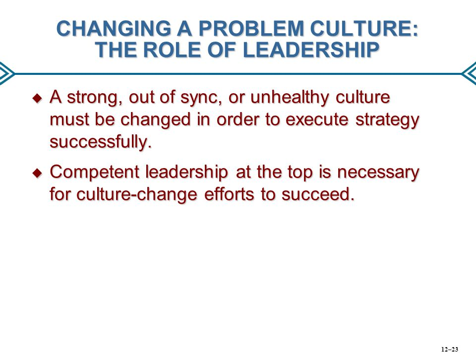 CHANGING A PROBLEM CULTURE: THE ROLE OF LEADERSHIP