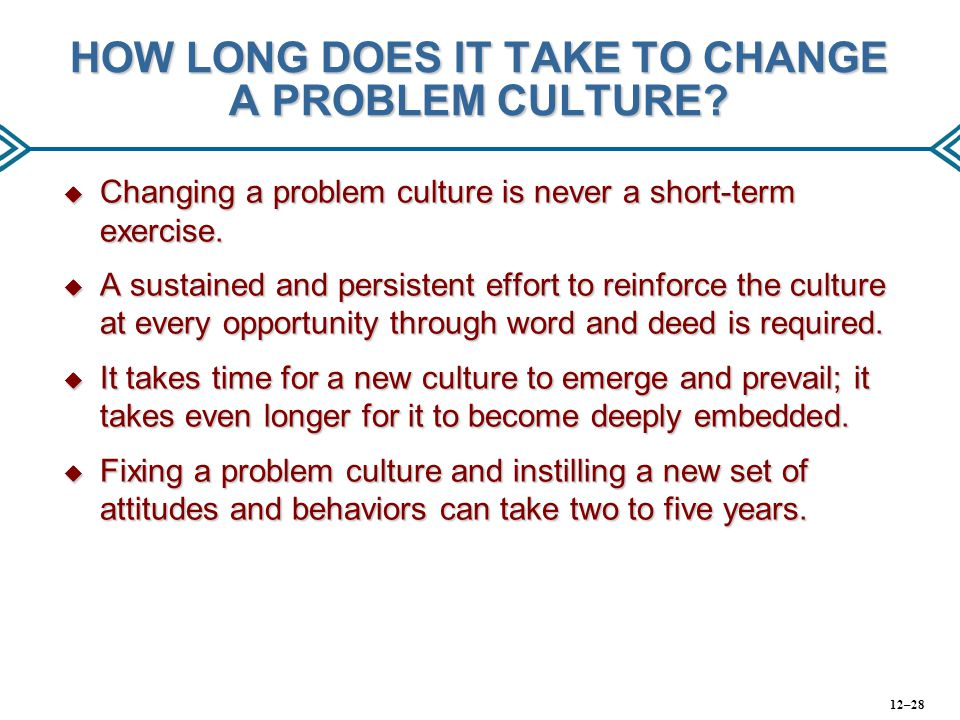 HOW LONG DOES IT TAKE TO CHANGE A PROBLEM CULTURE