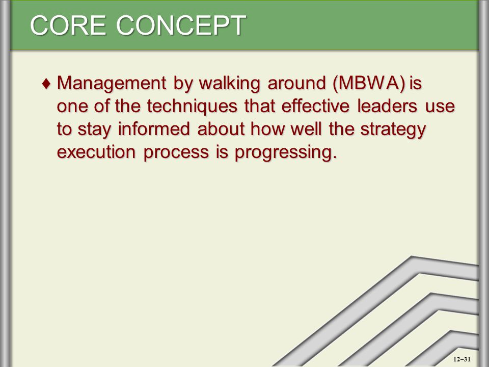 Management by walking around (MBWA) is one of the techniques that effective leaders use to stay informed about how well the strategy execution process is progressing.