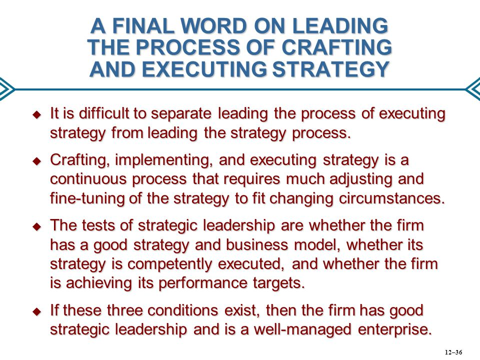 chapter 12 crafting and executing strategy Chapter roadmap  what does  sep/11 crafting and executing strategy 14e by admin under uncategorized tweet crafting and executing strategy.