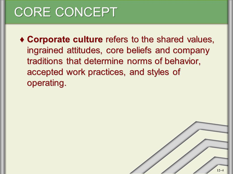Corporate culture refers to the shared values, ingrained attitudes, core beliefs and company traditions that determine norms of behavior, accepted work practices, and styles of operating.