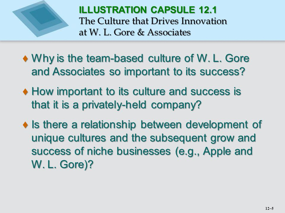 ILLUSTRATION CAPSULE 12. 1 The Culture that Drives Innovation at W. L
