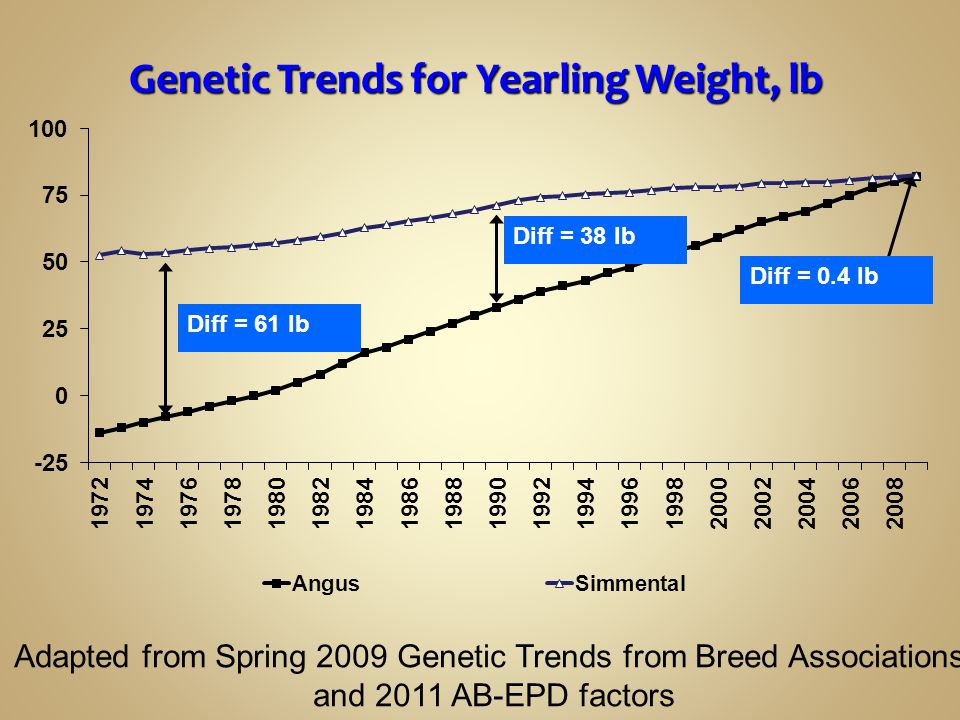 Genetic Trends for Yearling Weight, lb
