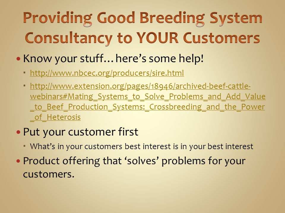 Providing Good Breeding System Consultancy to YOUR Customers