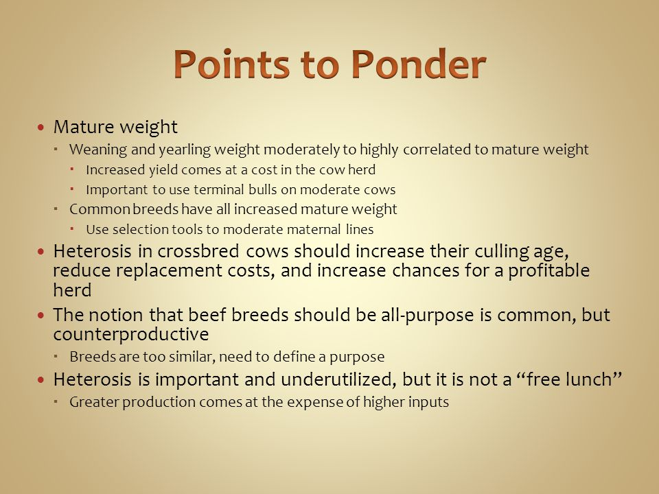 Points to Ponder Mature weight