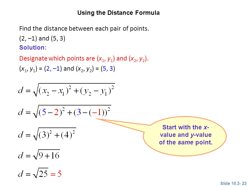 Start with the x-value and y-value of the same point.